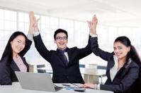 Business team celebrate their winning