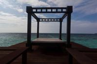 Cabana in the sea in a Maldivian resort