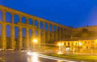 roman aqueduct  in autumn night. Segovia