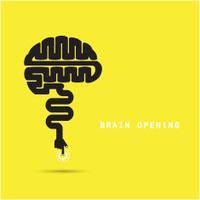 Brain opening concept.Creative brain abstract vector logo design