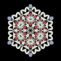 Mandala. Round Ornament Pattern on black background