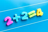 math word on blue board