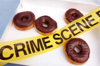 Crime scene box of donuts