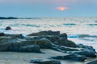 gloomy landscape seashore at sunset in Goa