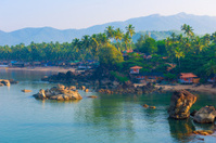 Shooting Palolem Beach in South Goa from the cliff