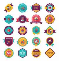 Space badge banner flat design background set, eps10