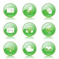 Electronic Equipment Green Vector Button Icon Design Set