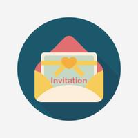 wedding invitation flat icon with long shadow,eps10
