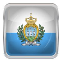 Glossy Button - Flag of San Marino