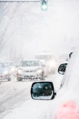 Snowy European day traffic