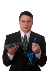 Businessman stumped by Technology