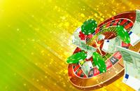 Casino wheel roulette, casino chips and money floating illustrat