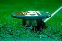 pop up lawn water sprinkler spraying water