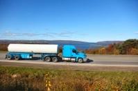 Semi-tanker truck on a highway