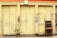 Chair in wall. Thrangu Tashi Yangtse monastery. Namo Buddha-Nepa