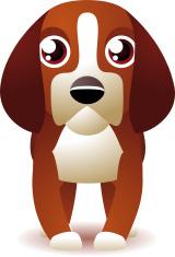 Purebred Beagle Dog Stanging