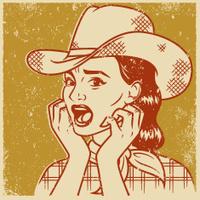 Retro Screen Print of a Terrified Cowgirl