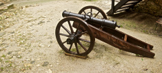 Medieval cannon with ammunitions