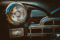 Vintage car headlight. Vintage effect processing