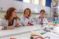 Turkish Students and Teacher in Biology Lab , Laptop, Istanbul