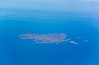 aerial view of small aegan greek island near turkey