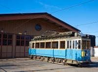 Tram by engine hall