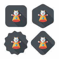cat hand puppet flat icon with long shadow,eps10