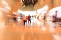 People in the lobby. motion blur