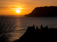 sunrise over Robin Hoods Bay, Yorkshire,Britain