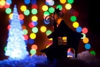 romantic house with a Christmas illumination