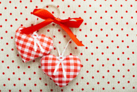 Heart made of cloth in red cell handmade Valentines Day