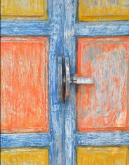Ancient door latch Thai style