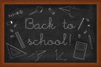 Back to school doodles set on black board