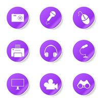 Electronic Equipment Violet Vector Button Icon Design Set