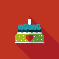 Valentine's Day cake flat icon with long shadow,eps10