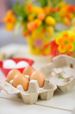closeup on tray with eggs ready for easter decoration