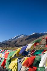 Prayer flag on highest highway