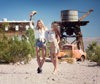 Cowgirls at an old Western Town