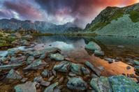 Sunset on a mountain lake