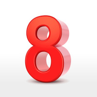 red 3d number 8