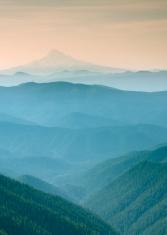 Blue misty view of Mt Adams