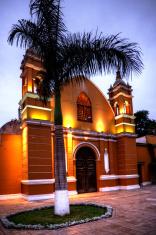 Peruvian church facade in Barranco District of Lima