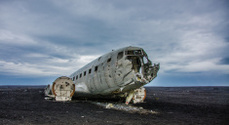 Lost plane wreck in wilderness
