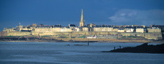 Cityscape of Saint Malo with stormy sky