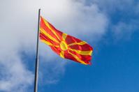 Macedonian flag flying in the wind, Mount Vodno, Skopje