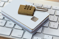 Credit cards with lock on a keyboard