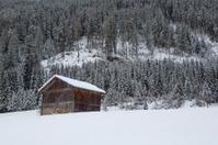 Ski hut in the snowy Austrian Alps