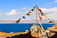 Tibetan plateau scene-Tibetan prayer flags of the lake Namtso