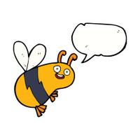 funny cartoon bee with speech bubble