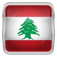 Glossy Button - Flag of Lebanon